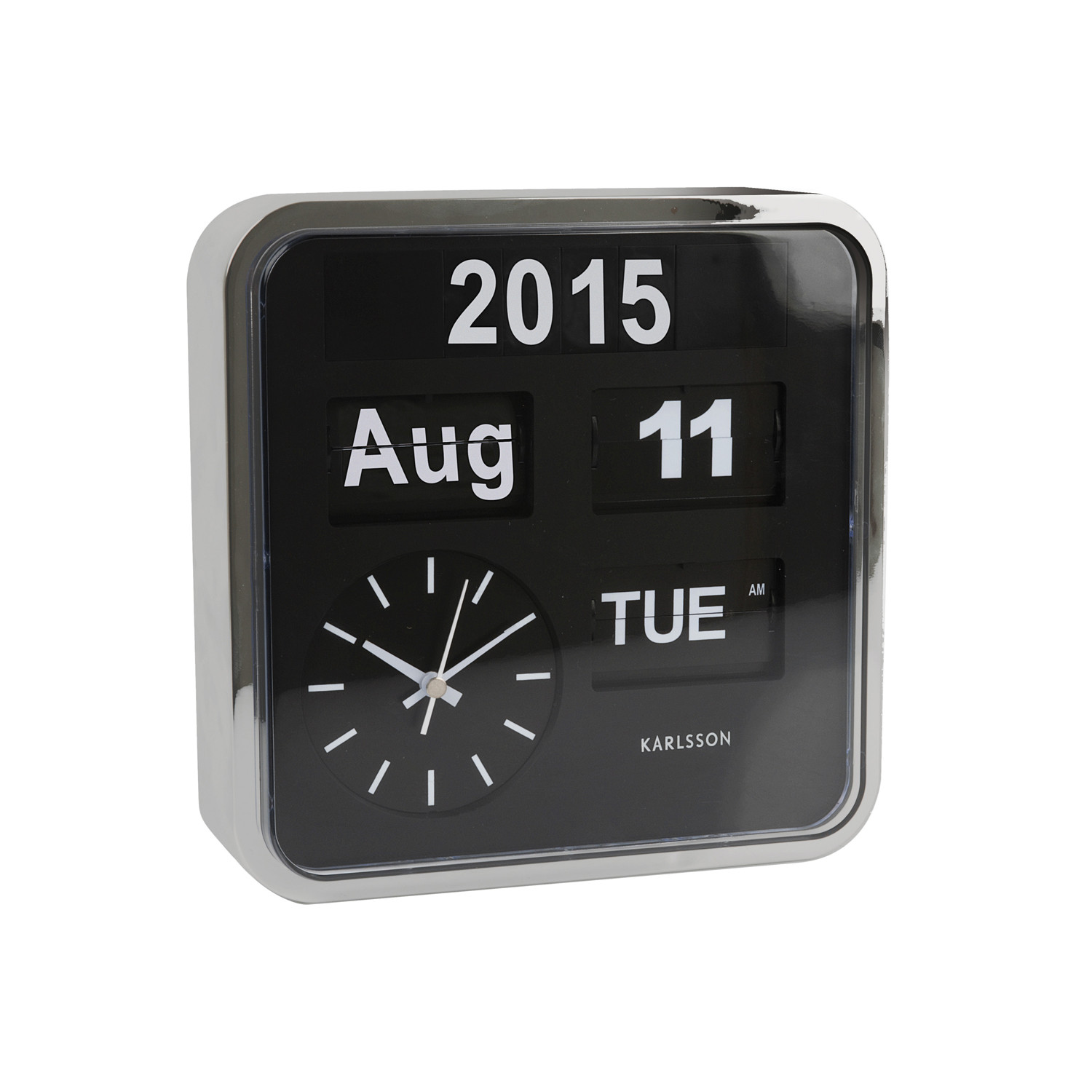 Wall clock mini flip black with silver casing karlsson wall clock mini flip black with silver casing amipublicfo Choice Image