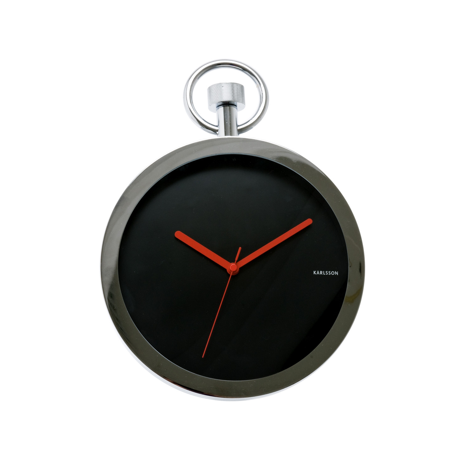 Wall clock pocket watch chrome black karlsson for Touch of modern clock