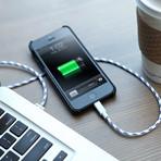 Bungee Cord USB Cable // Aspen White (8-Pin: iPhone 5, iPad 4, iPad Mini)