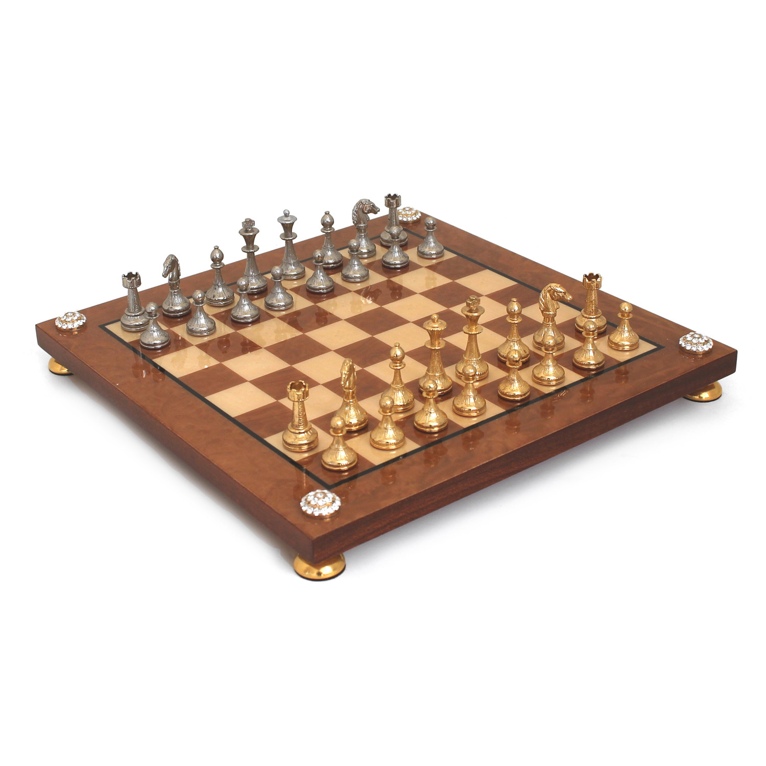 chess set metal briar wood gold and silver
