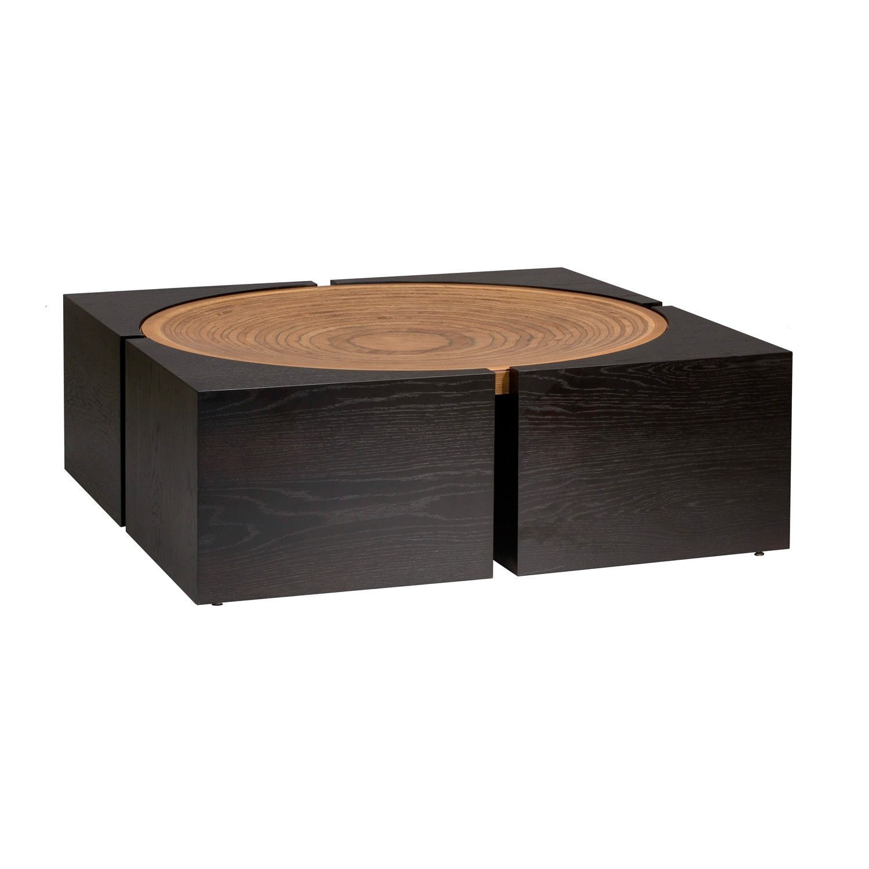 Laos Coffee Table Black Oak 42 Square Platinum Decor