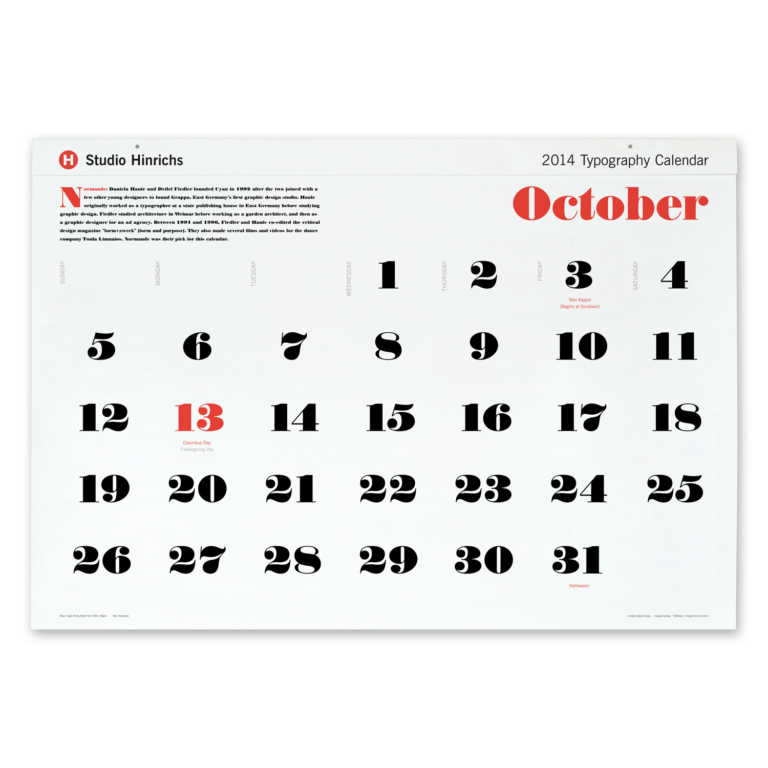 Calendar Typography S : Supersize typography calendar calendars touch of