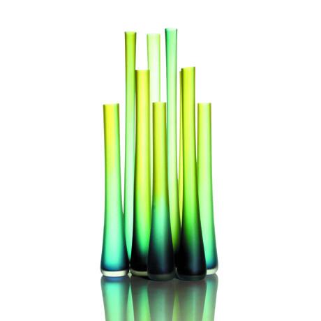 "Tubes // Olive Aqua Etched (20""H x 4""Dia)"
