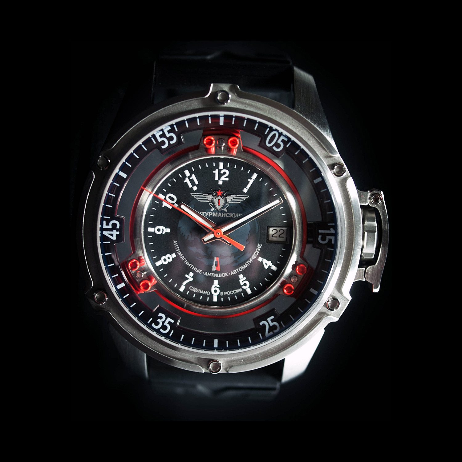 Mars Swiss Automatic    Russian Space Agency    Black + Red ... 9fcb3ae1df4