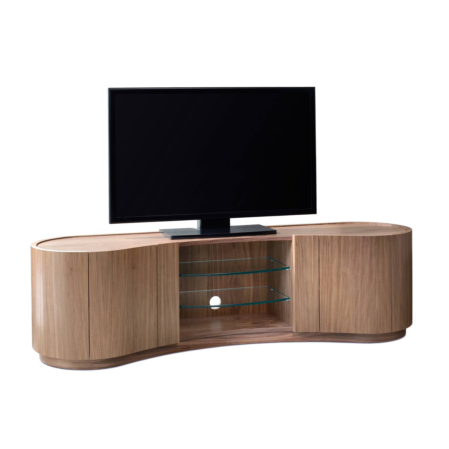 Swirl tv media cabinet tom schneider touch of modern for Tv media storage cabinet
