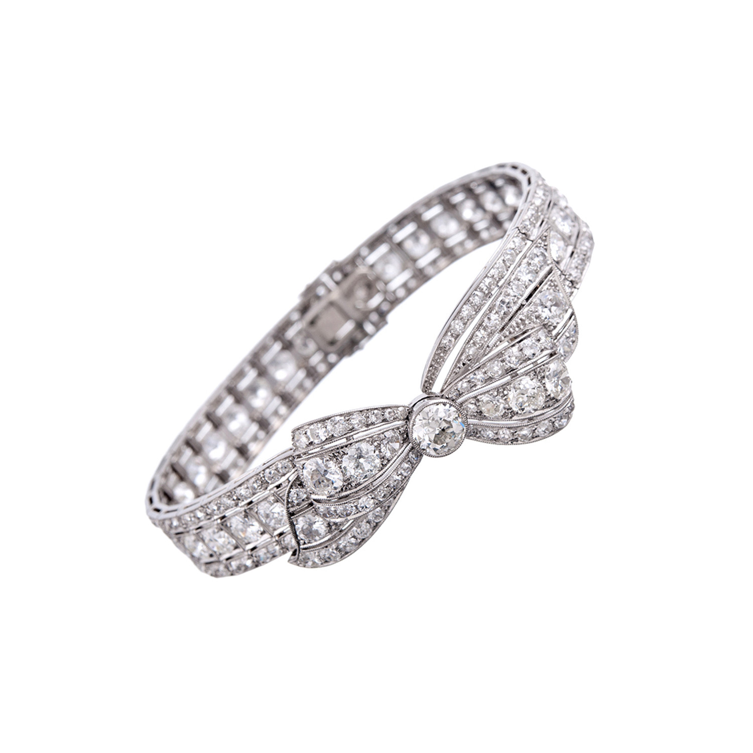 Convertible Platinum & Diamond Bow Bracelet c 1930 s Fourtane