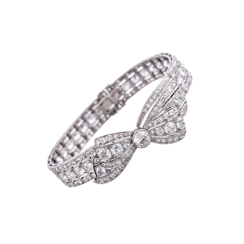 Convertible Platinum & Diamond Bow Bracelet c 1930 s Fourtane