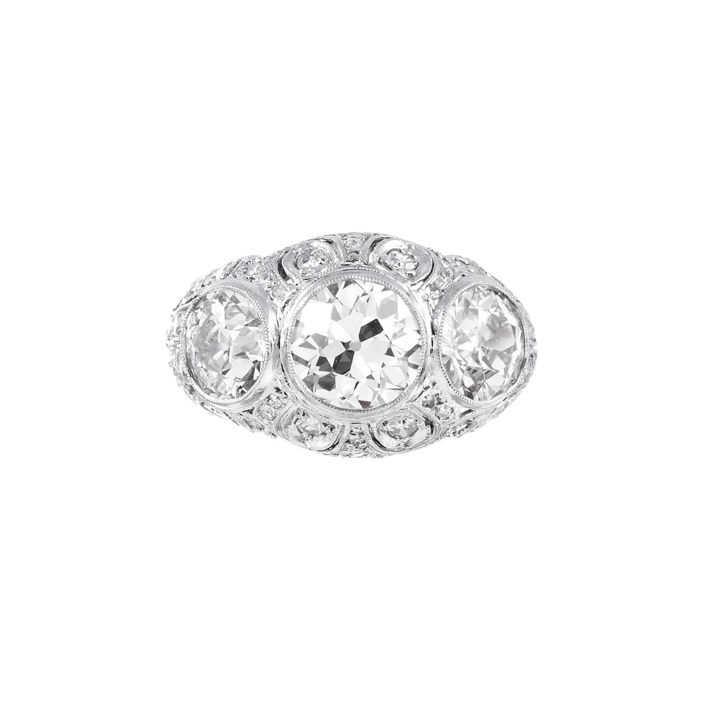 4caf2ecce8 Art Deco 3-Stone Old European Cut Diamond Ring // c. 1930's ...