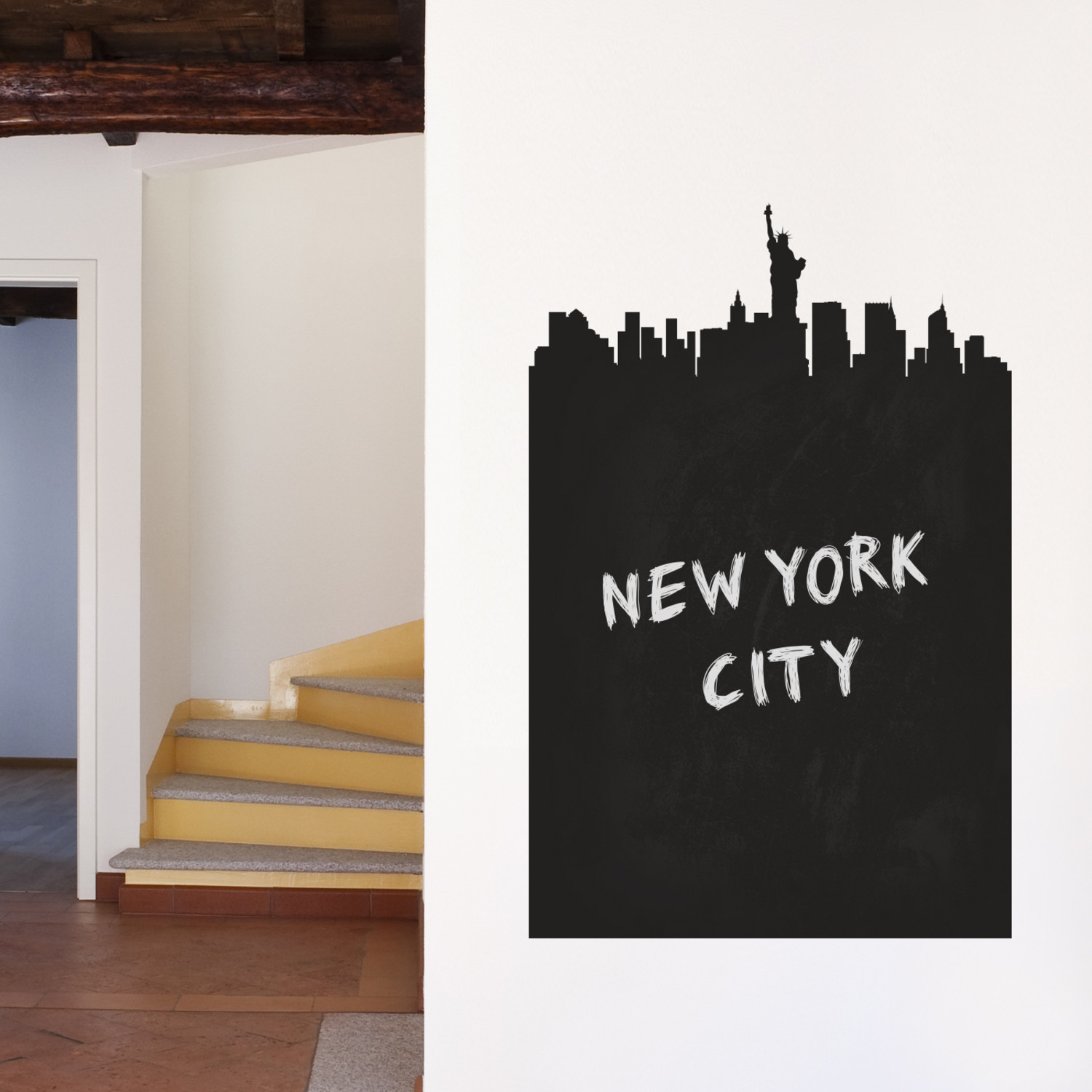 new york chalkboard skyline wall decal walls need love. Black Bedroom Furniture Sets. Home Design Ideas