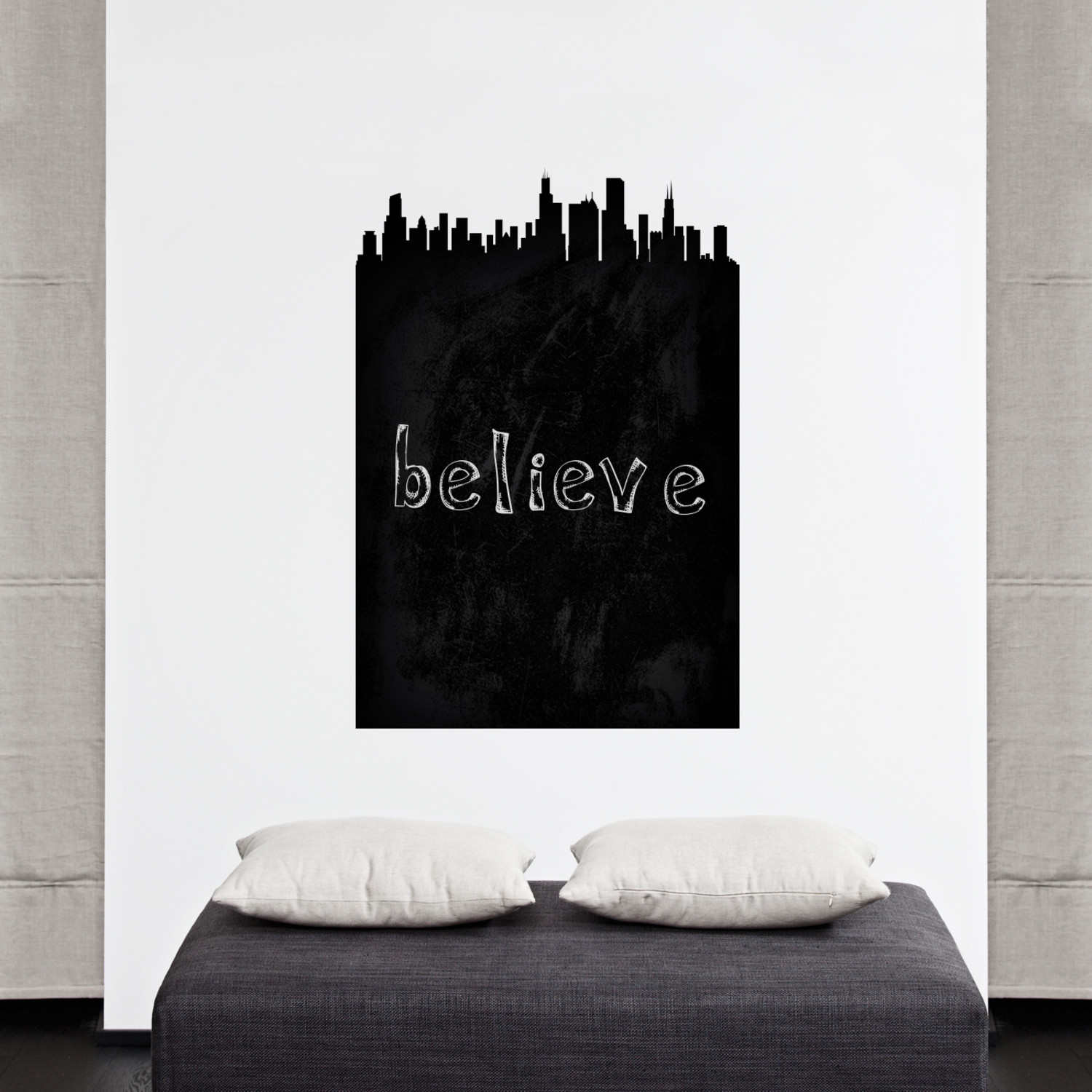chicago chalkboard skyline wall decal walls need love. Black Bedroom Furniture Sets. Home Design Ideas