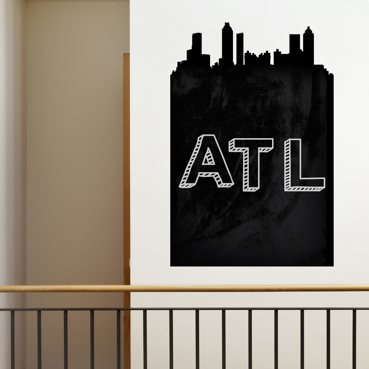 atlanta chalkboard skyline wall decal walls need love. Black Bedroom Furniture Sets. Home Design Ideas