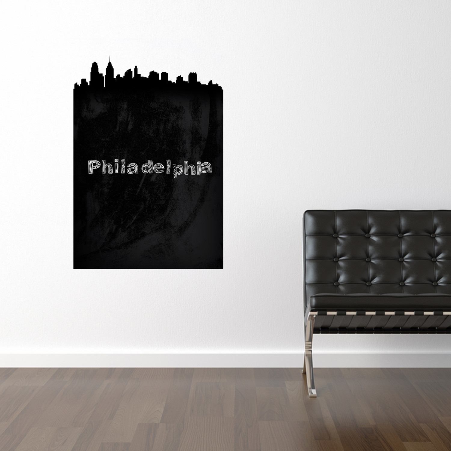 philadelphia chalkboard skyline wall decal walls need. Black Bedroom Furniture Sets. Home Design Ideas