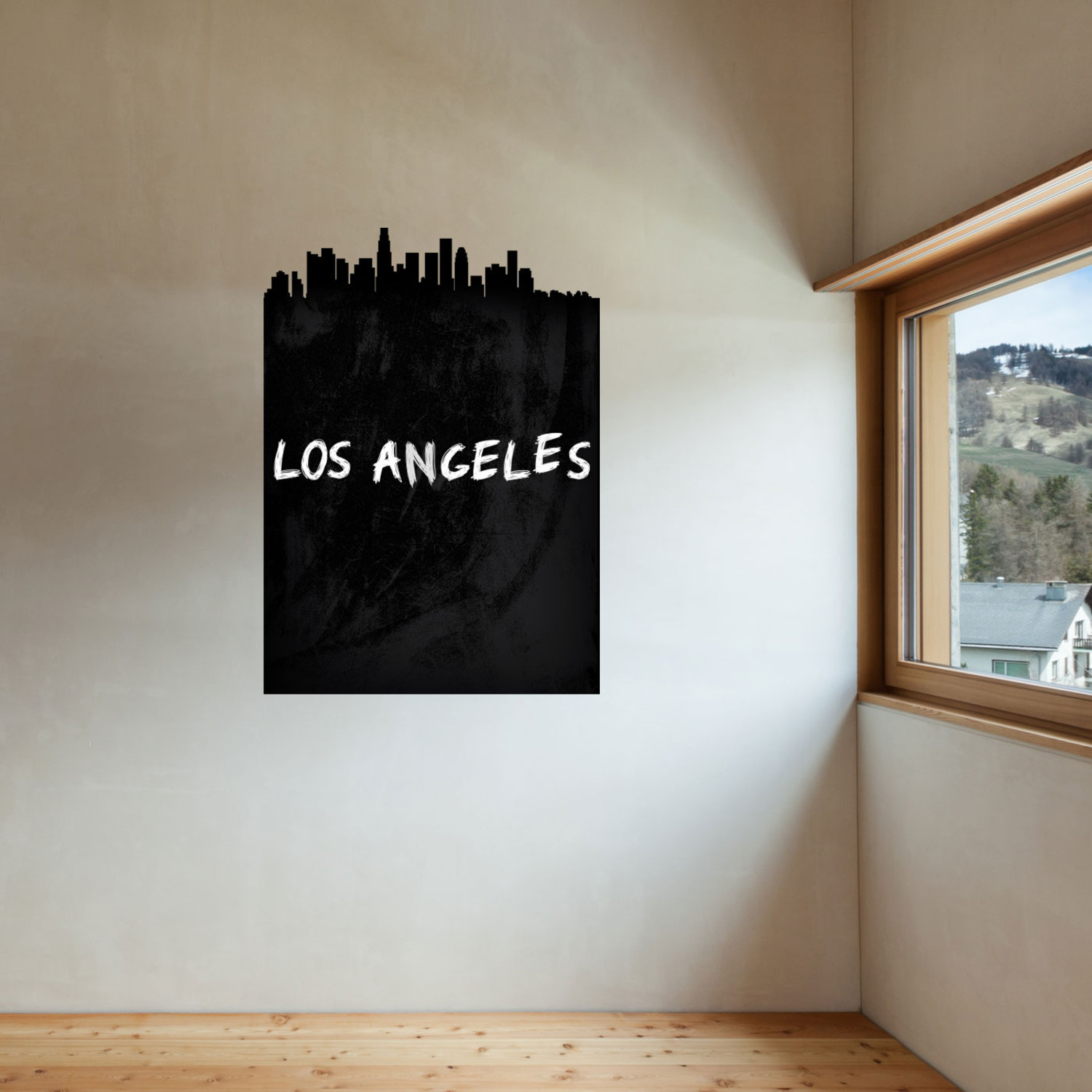 los angeles skyline chalkboard wall decal walls need. Black Bedroom Furniture Sets. Home Design Ideas
