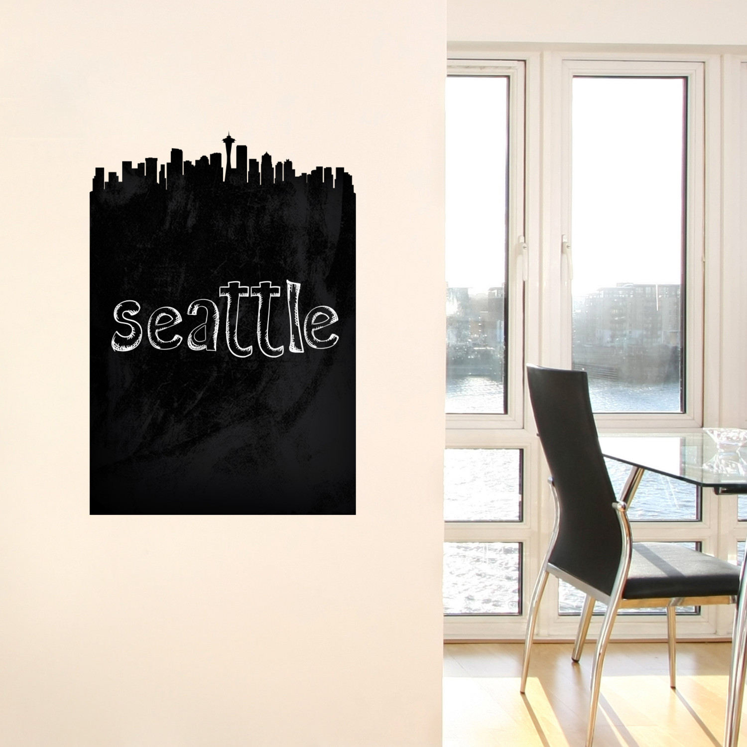 seattle skyline chalkboard wall decal walls need love. Black Bedroom Furniture Sets. Home Design Ideas