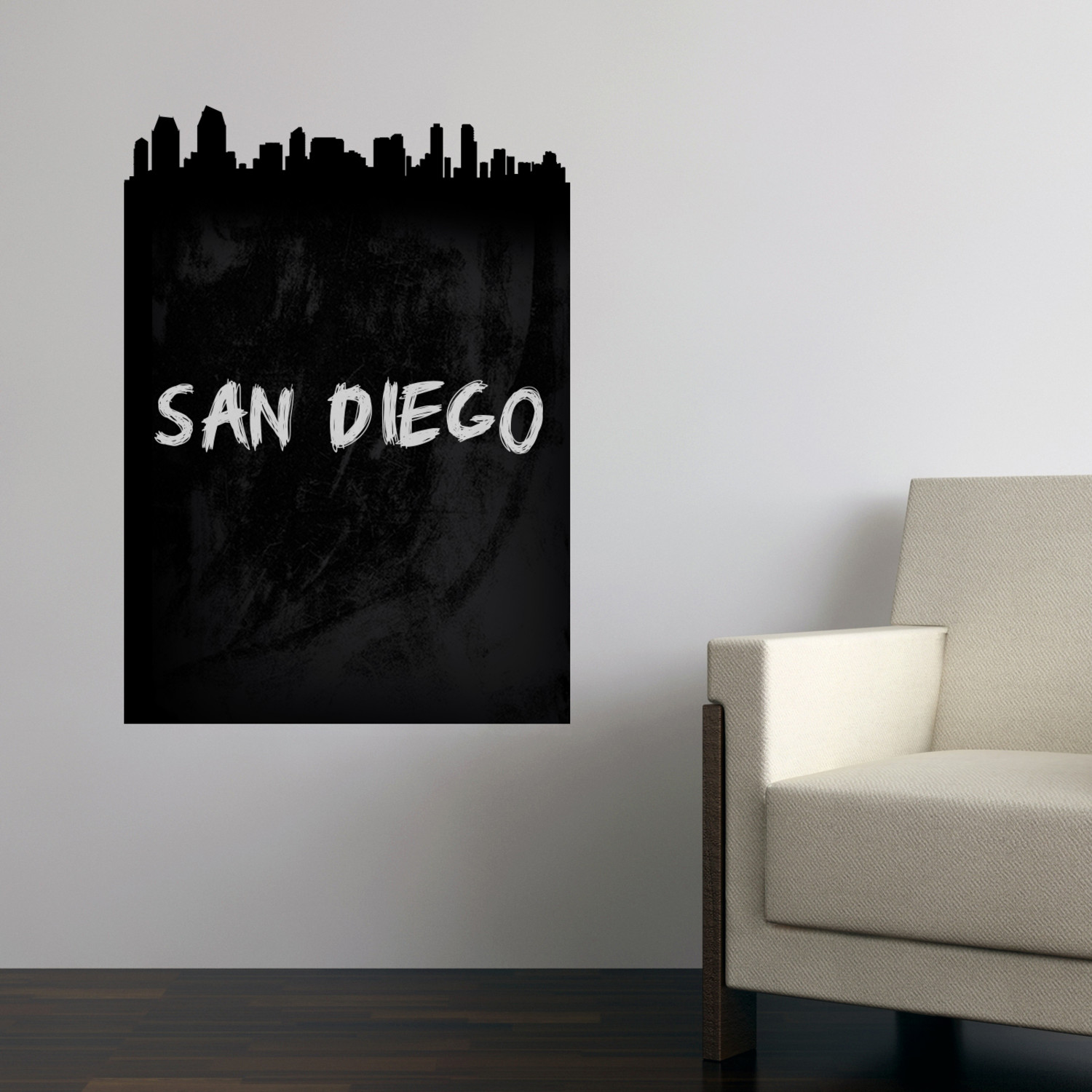san diego skyline chalkboard wall decal walls need love. Black Bedroom Furniture Sets. Home Design Ideas