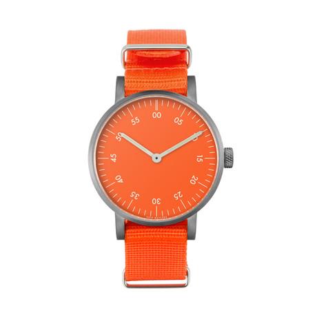 Brushed Round Basic with Orange Nylon Strap & Orange Dial