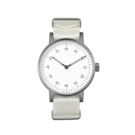 Brushed Round Basic with White Nylon Strap & White Dial