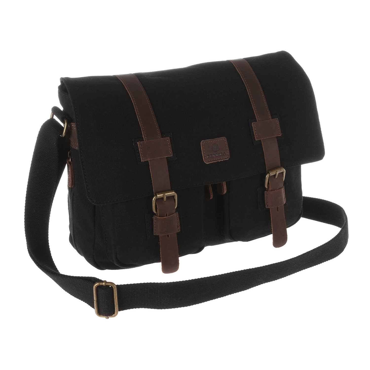 Borough Canvas   Leather Messenger Bag // Pure Black - Conkca ...