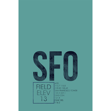 """SFO // San Francisco (Print - 12"""" x 18"""")"""