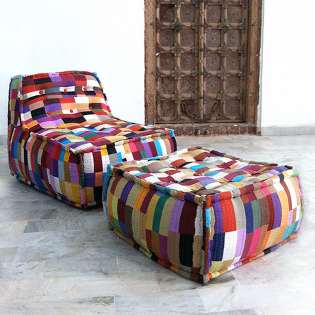 Patchwork Lounge Chair Amp Ottoman Sobu Touch Of Modern
