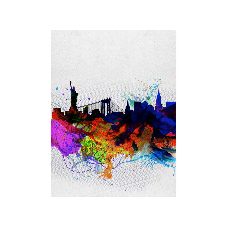 "Watercolor New York: New York Watercolor Skyline 1 (15""W X 20""H)"