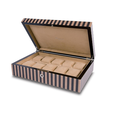 Portman 10 Watch Collector Case // Tan + Black Striped Wood