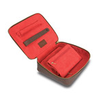 Brown Canvas Jewelry Box With Red Interior