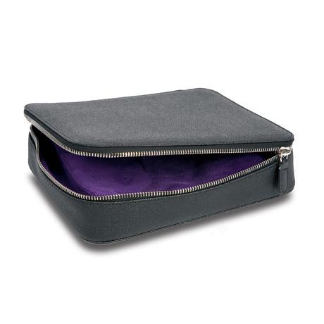 Black Canvas Jewelry Box With Purple Interior