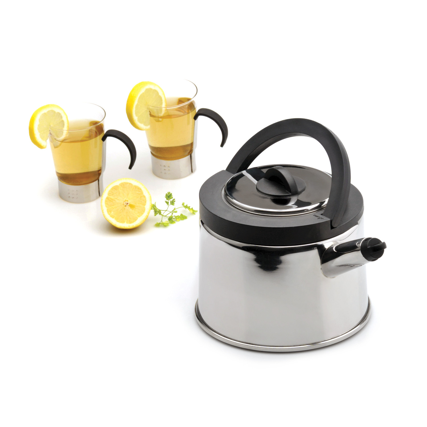 cubo whistling tea kettle  berghoff  touch of modern - cubo whistling tea kettle