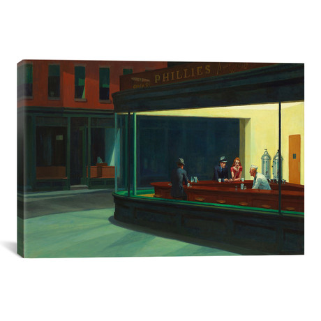 "Nighthawks, 1942 // Edward Hopper (40""W x 26""H x 1.5""D)"