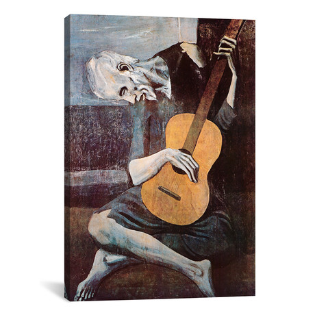 "The Old Guitarist // Pablo Picasso // 1903 (18""W x 26""H x0.75""D)"