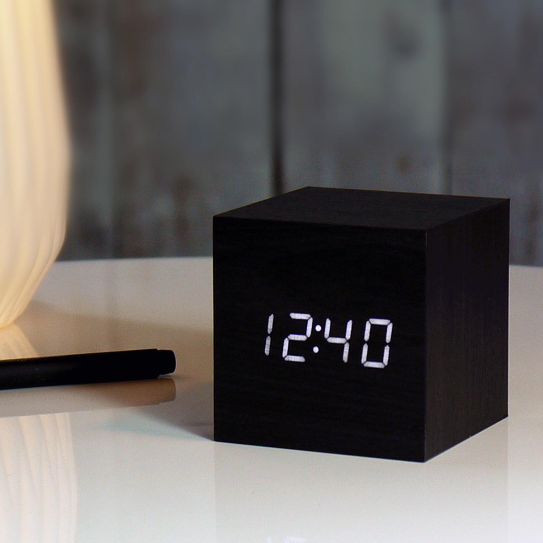 cube click clock  black (blue led)  gingkoeco  touch of modern - cube click clock  black (blue led)
