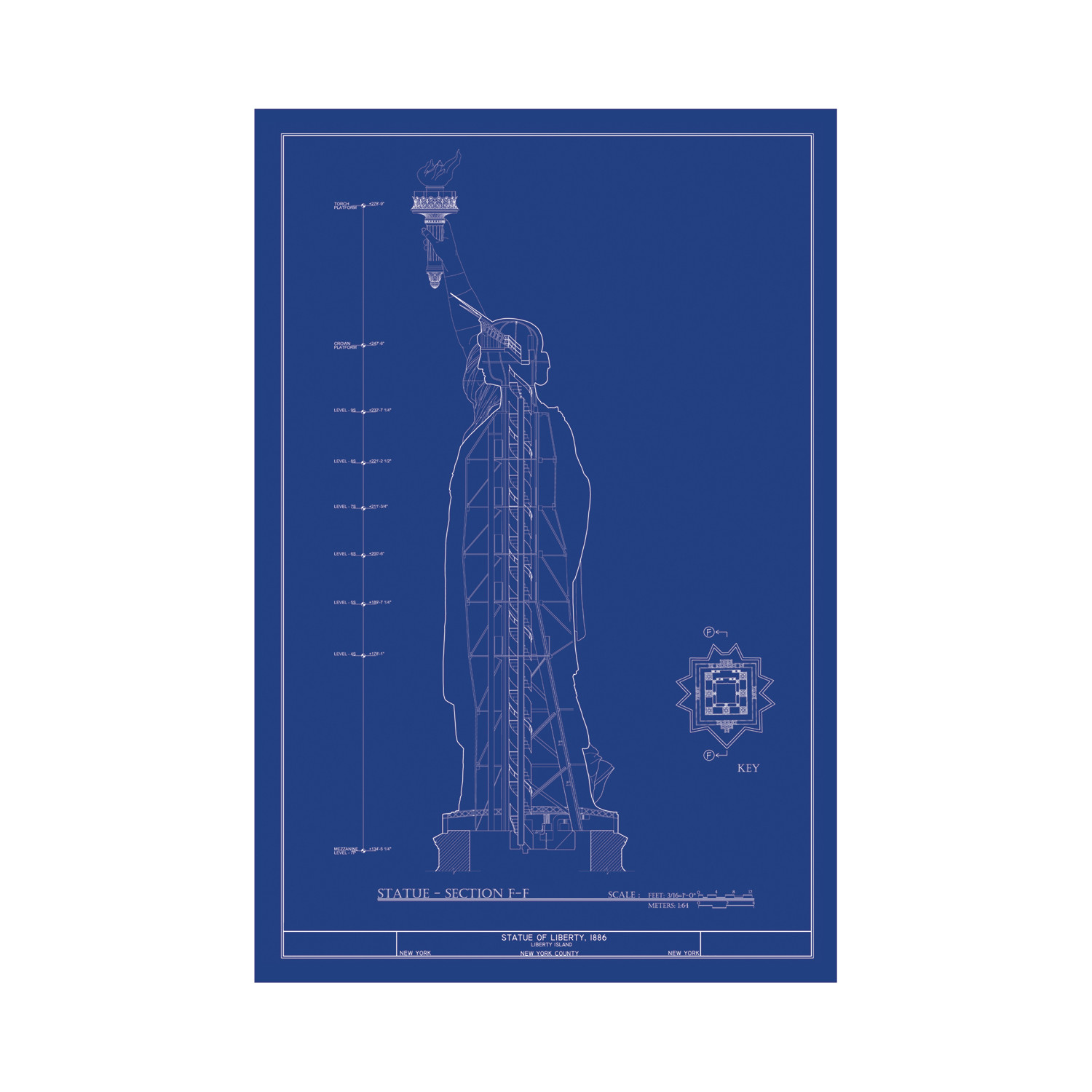 Old blueprints american architectural classics touch of modern statue of liberty blueprint section malvernweather Images