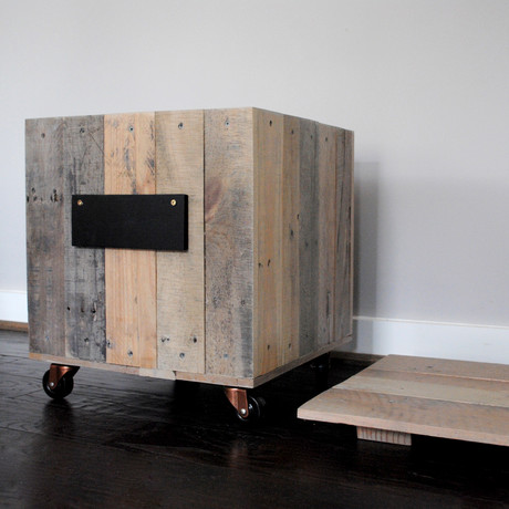 Reclaimed Side Table on Casters
