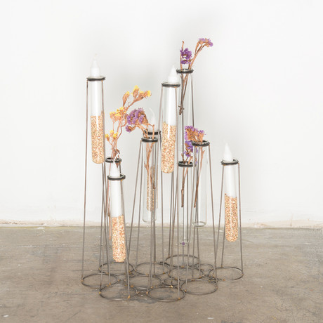 Stilt test tube table vase set of 10 gold leaf design for Test tube vase