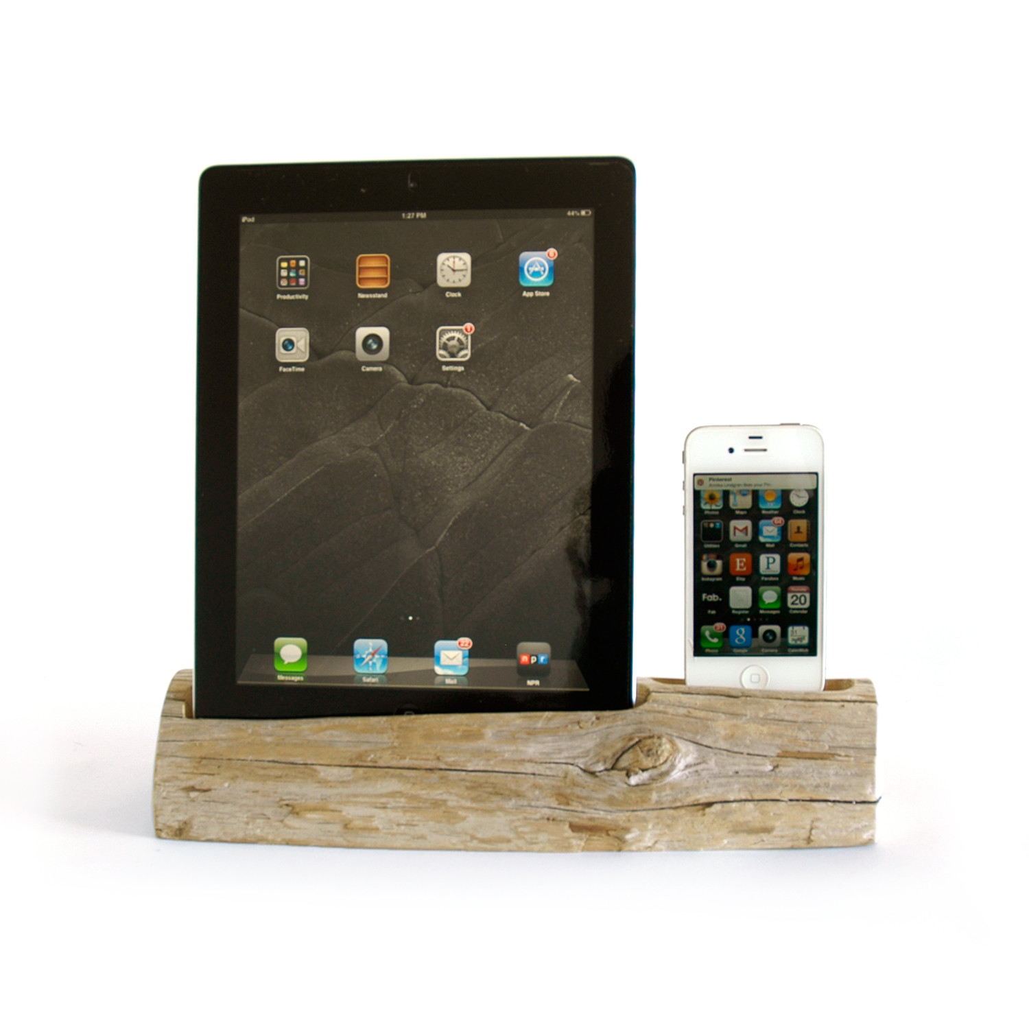 driftwood docking station ipad phone ipad 2 3 iphone 4 docksmith touch of modern. Black Bedroom Furniture Sets. Home Design Ideas