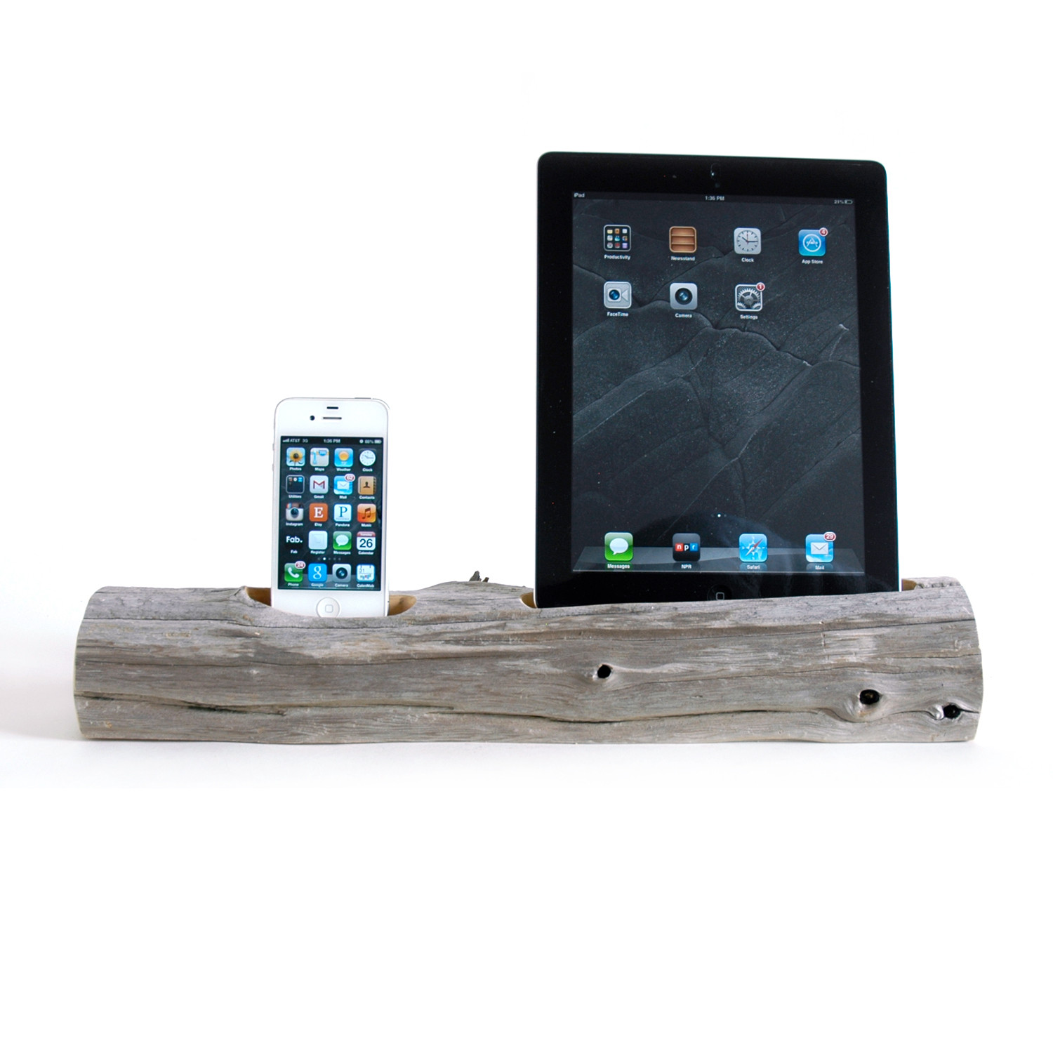 driftwood docking station ipad phone ipad 2 3 iphone 5 6 6 docksmith touch of modern. Black Bedroom Furniture Sets. Home Design Ideas
