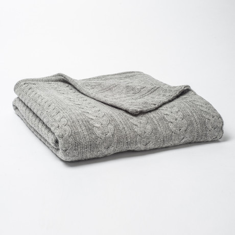 Cashmere Blend Throw // Cables (Charcoal)