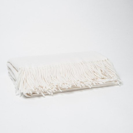 Woven Cashmere Throw // Fringes (Black)