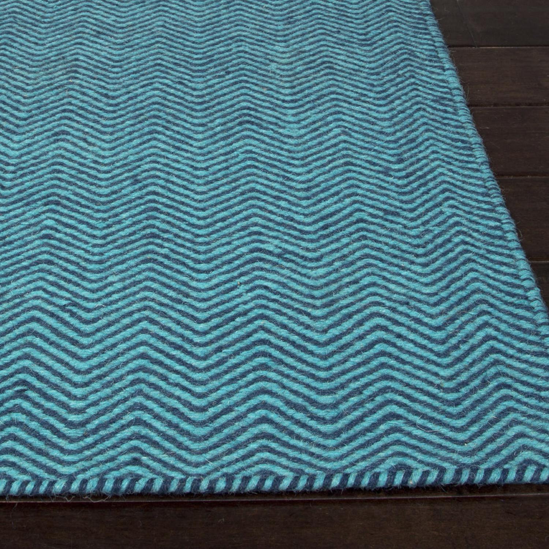 Flat Weave Soft Hand Wool Water Blue 5 X 8 Jaipur