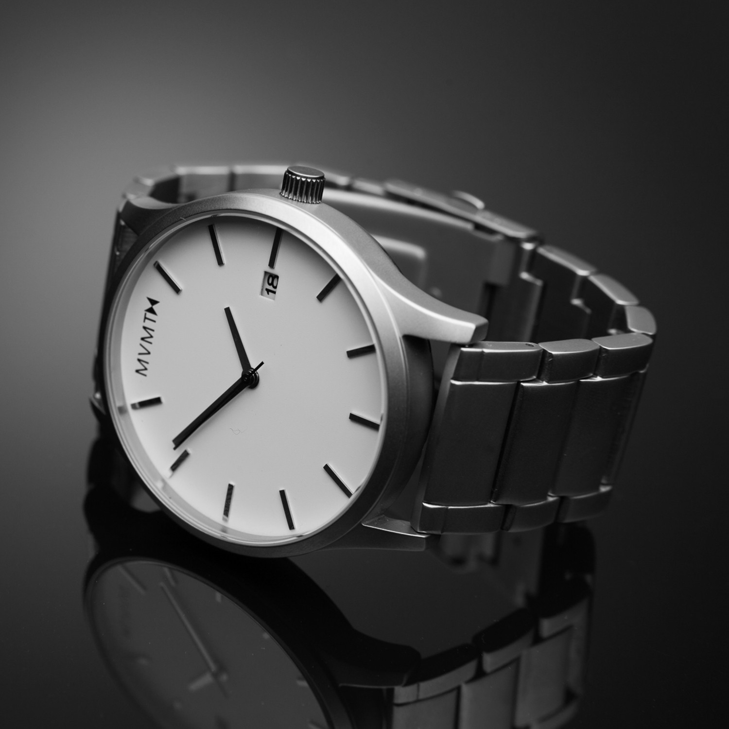 Mvmt watch white face silver stainless steel bracelet mvmt watches touch of modern for Wacthes mvmt