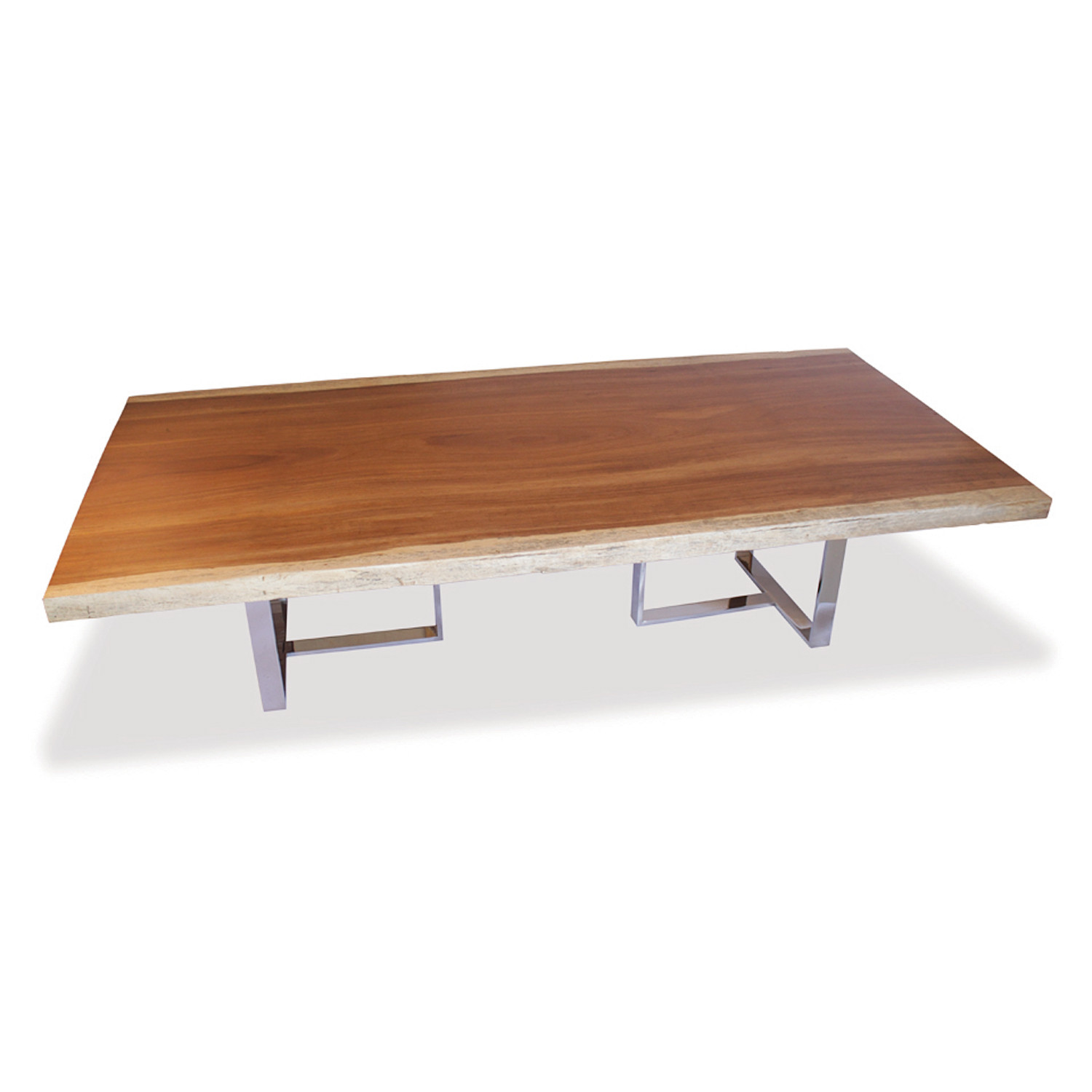 Live Edge Wood Slab & Stainless Steel Dining Table Rotsen