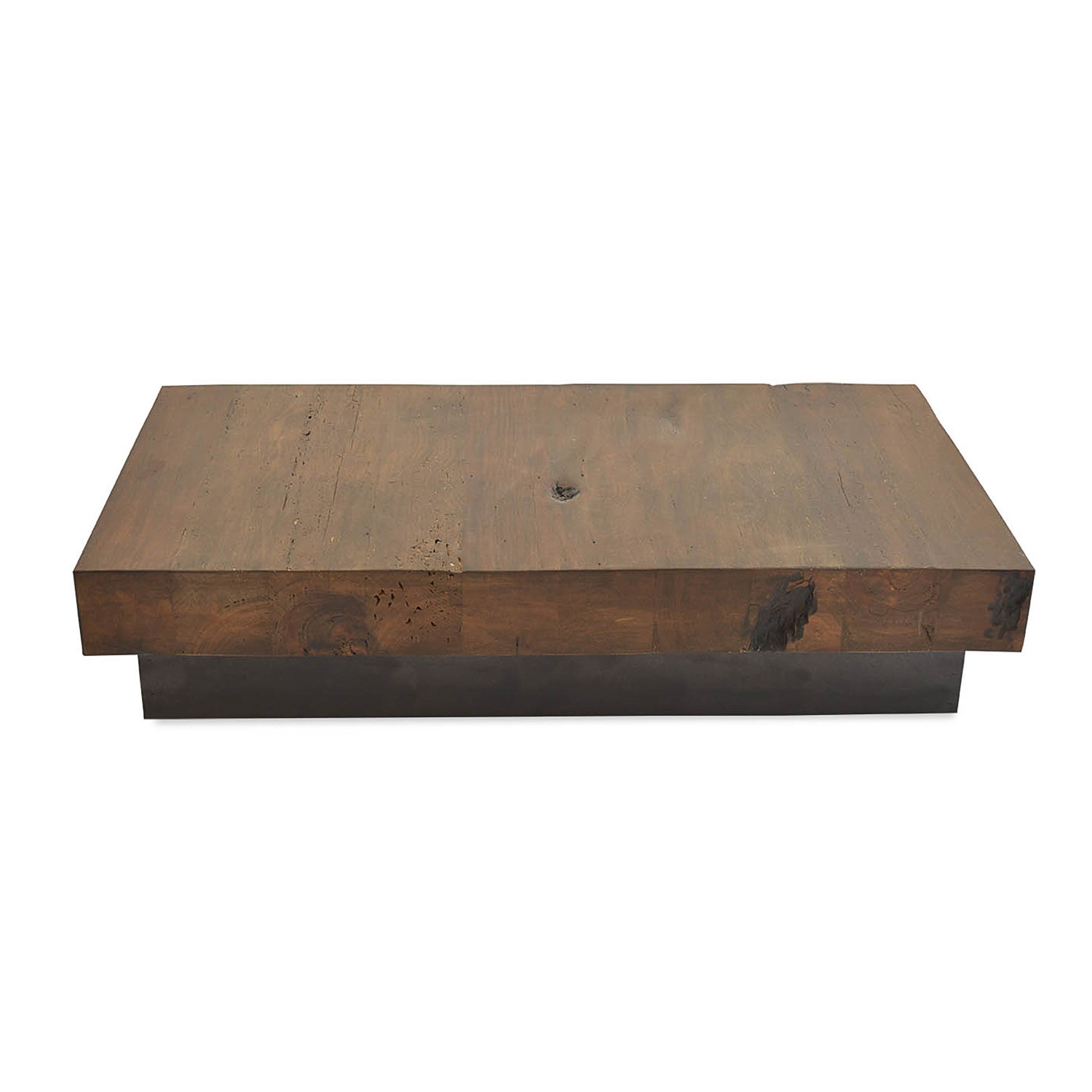 Salvaged retalho wood coffee table wood base rotsen furniture touch of modern Bases for coffee tables