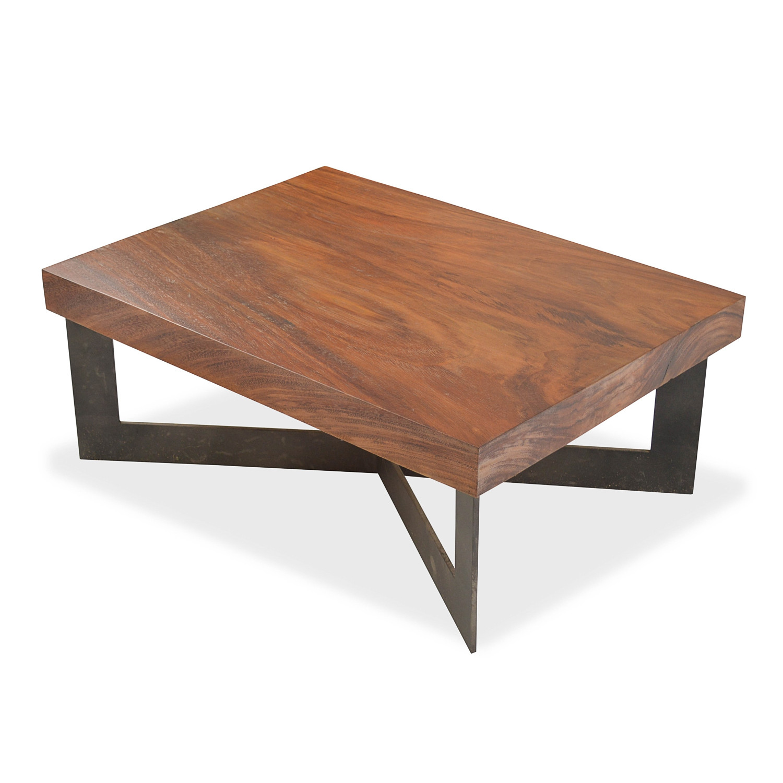 Solid Wood Tamburil Slab Coffee Table Metal Base Rotsen