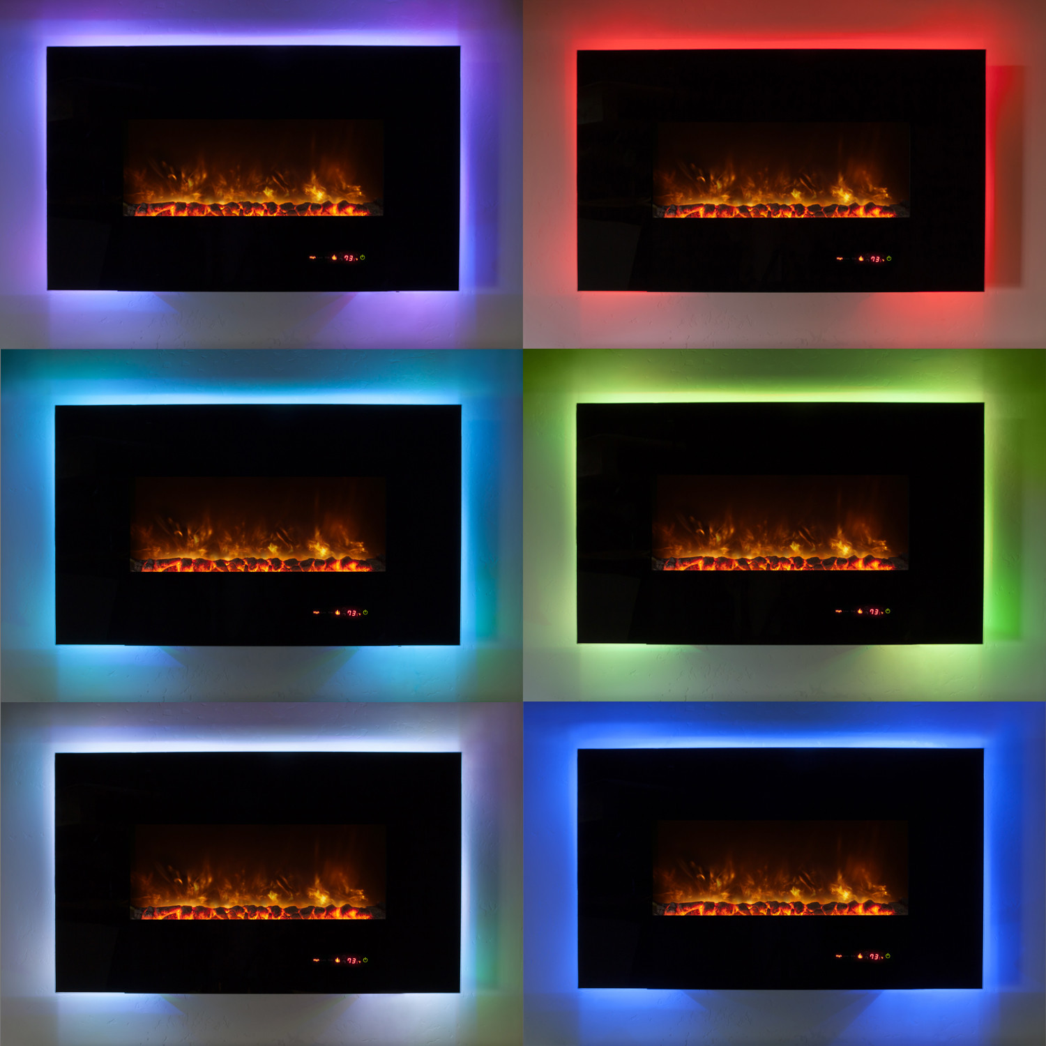 ambiance linear wall mount electric fireplace 58