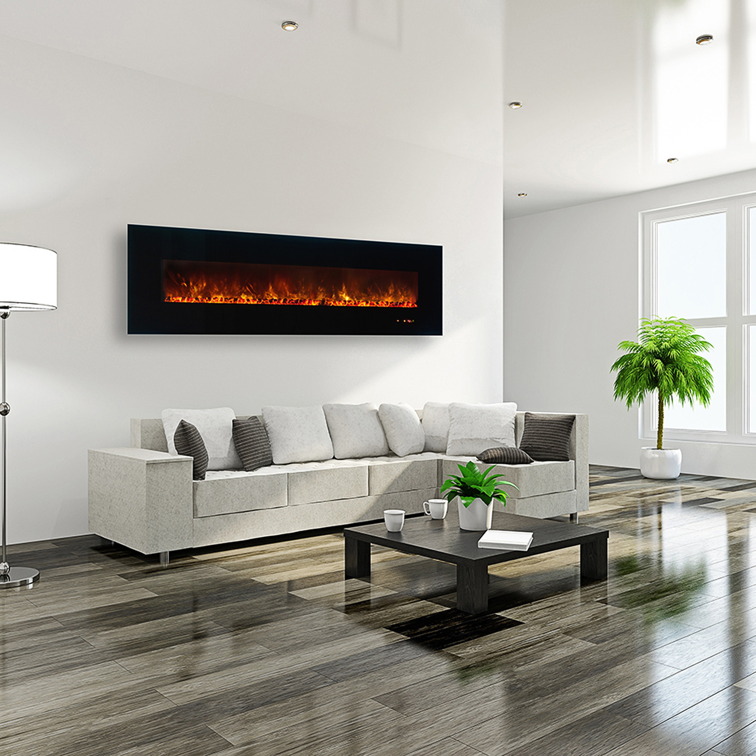 Ambiance linear wall mount electric fireplace 95 for Deco interieur