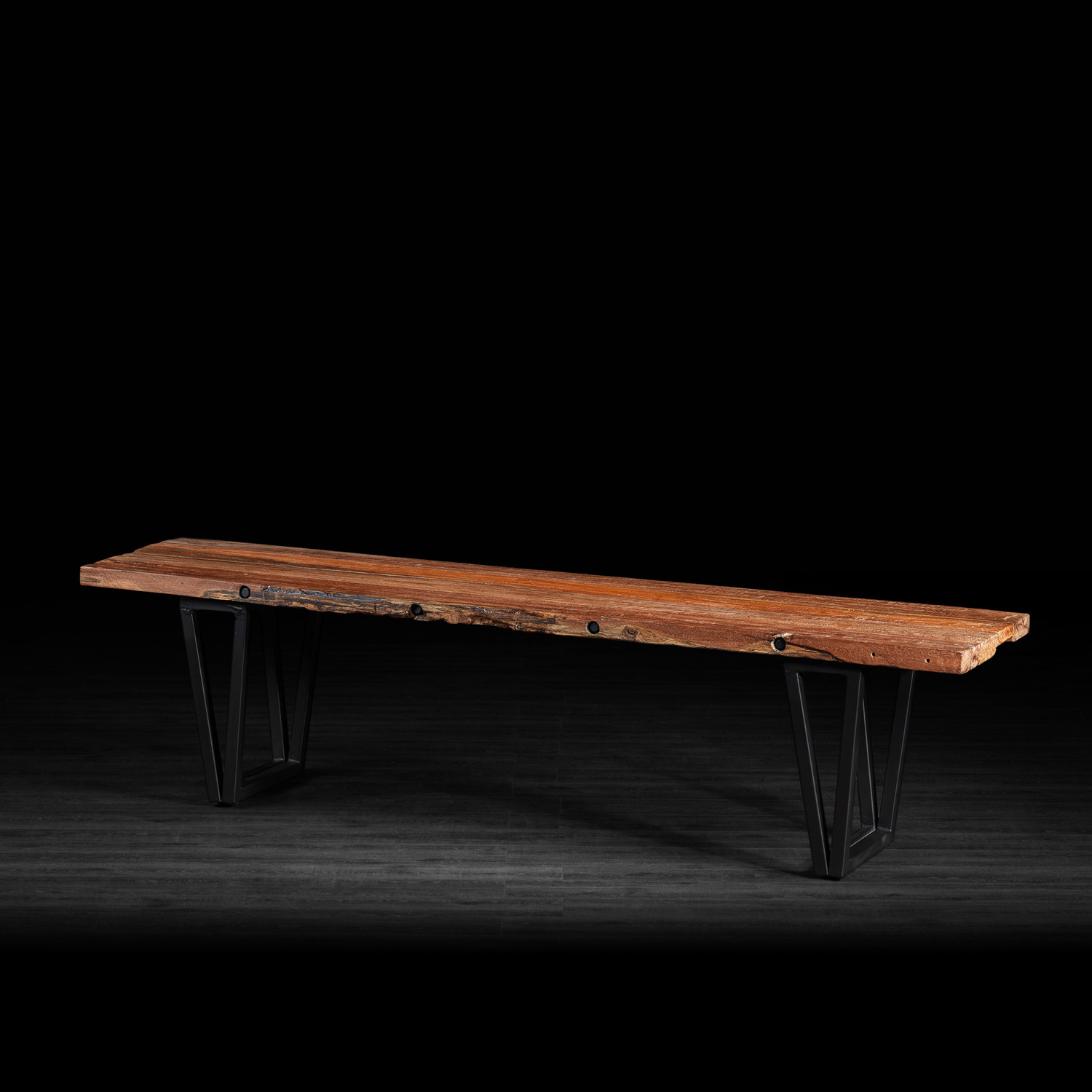 bench made of recycled wood w metal legs artemano touch of modern