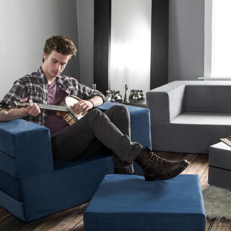 jaxx zipline modular chair fold out sleeper white - Fold Out Sleeper Chair