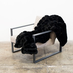 "Mink Patchwork Throw // Black (52""L x 65""W)"