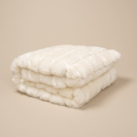 "Mink Patchwork Throw // Ivory (52""L x 65""W)"